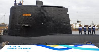 File picture released by Telam showing the ARA San Juan submarine being delivered to the Argentine Navy after being repaired at the Argentine Naval Industrial Complex (CINAR) in Buenos Aires, on May 23, 2014.  The Argentine submarine is still missing in Argentine waters on November 17, 2017, after it lost communication more than 48 hours ago. / AFP PHOTO / TELAM / Alejandro MORITZ / Argentina OUT        (Photo credit should read ALEJANDRO MORITZ/AFP/Getty Images)