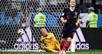 Croatia's midfielder Luka Modric celebrates after scoring in the penalty shootout during the Russia 2018 World Cup round of 16 football match between Croatia and Denmark at the Nizhny Novgorod Stadium in Nizhny Novgorod on July 1, 2018. / AFP PHOTO / Jewel SAMAD / RESTRICTED TO EDITORIAL USE - NO MOBILE PUSH ALERTS/DOWNLOADS