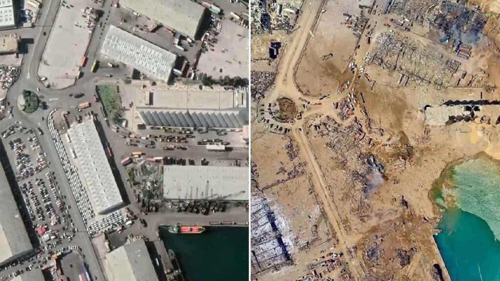 Beirut-Libano-Explosion antes y despues